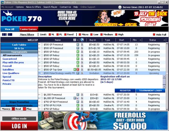 Weekly $500 freeroll Poker770