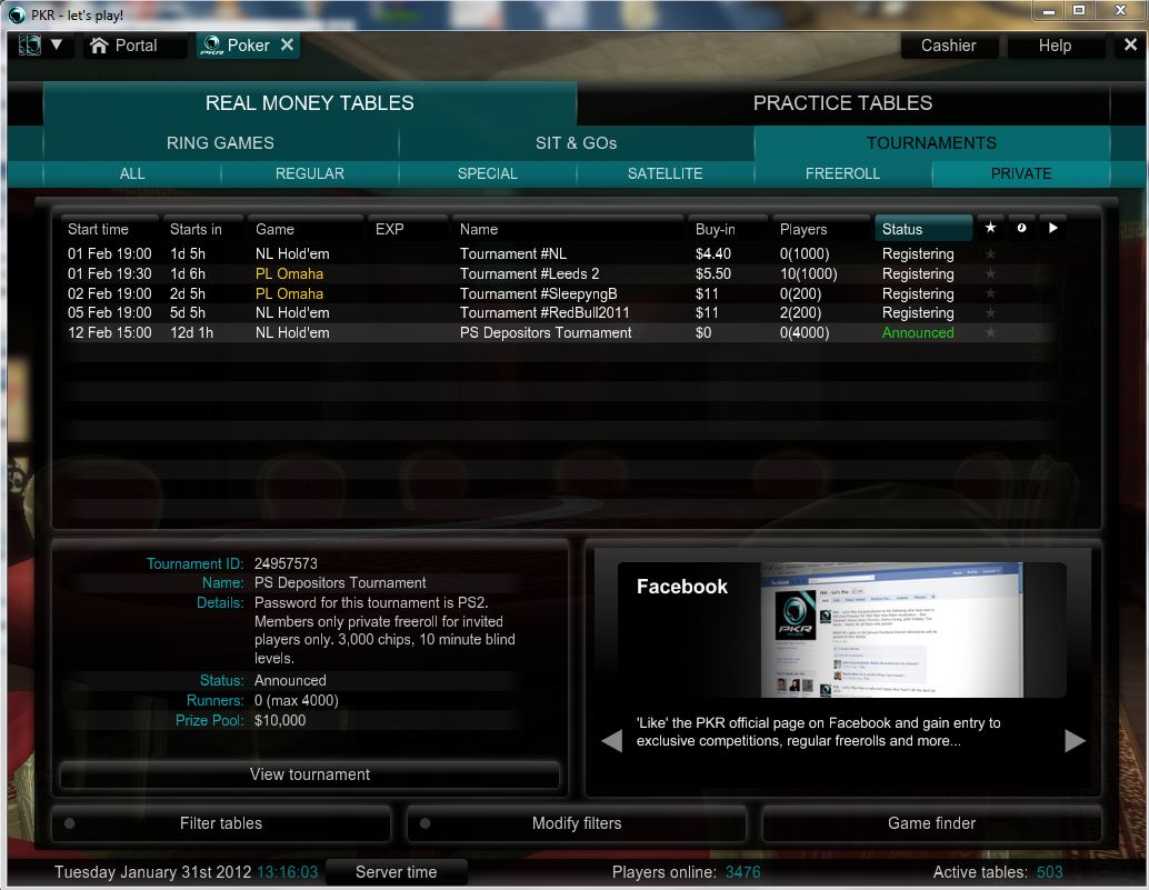 February 12: $10,000 Depositor Freeroll at PKR - PokerStrategy.com -- Two Plus Two Poker Forums