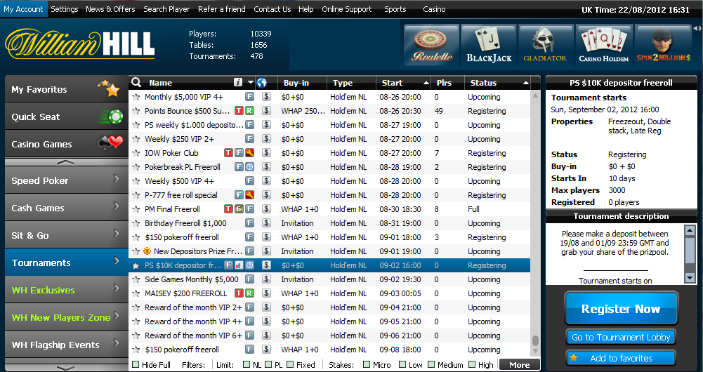 William hill poker strategy freeroll