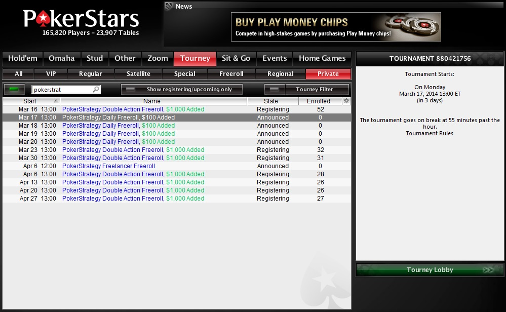 Online poker freeroll tips